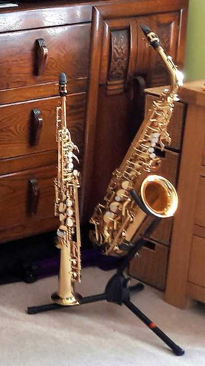 Photo: saxophones in the studio at My Smart Music, Lazonby, Penrith, Cumbria