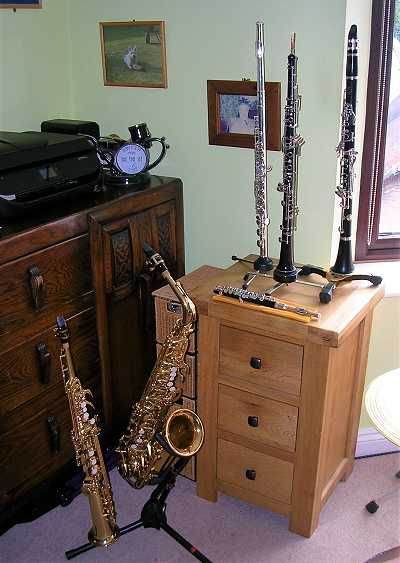 Photo: woodwind instruments in the studio at My Smart Music, Lazonby, Penrith, Cumbria